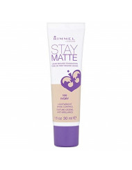 Rimmel Stay Matte Foundation Ivory 1 Fluid Ounce/30 ml Bottle Soft Matte Powder Finish Foundation for a Naturally Flawless Look