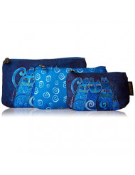 Laurel Burch Cosmetic Bag, Indigo Cats, Set of 3