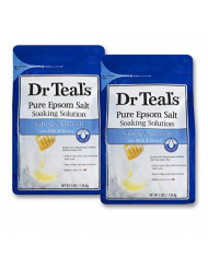 Dr. Teal's Epsom Salt Soaking Solution, Soften & Nourish with Milk and Honey, 48oz, Pack of 2
