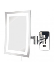 "Jerdon JRT710CL LED Lighted Wall Mount Rectangular Makeup Mirror, Chrome Finish, 6.5"" x 9"""