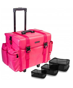 SHANY Makeup Artist Soft Rolling Trolley Cosmetic Case with Free Set of Mesh Bags - Sweetheart