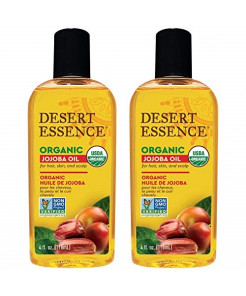 Desert Essence Organic Jojoba Oil - 4 Fl Oz - Pack of 2 - Moisturizer for Face, Skin, Hair - Cleanses Clogged Pores - May Prevent Scalp Flakiness - Fights Skin Infections - USDA - Sensitive Skin