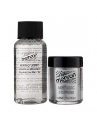 Mehron Makeup Metallic Powder (.17 oz) with Mixing Liquid (1 oz) (Silver).