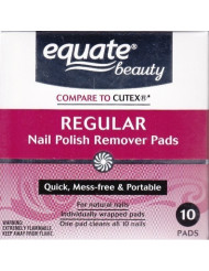 Acetone Regular Nail Polish Remover Pads by Equate 10ct Compare to Cutex