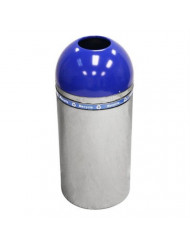Witt Industries 415DT-44R-BL Dome Recycling Receptacle with Open Top, Chrome/Blue Top, Lot of 1