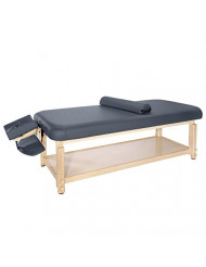 "Master Massage 30"" Laguna Stationary Massage Table Treatment Clincal Beauty Bed Royal Blue with Shelf"