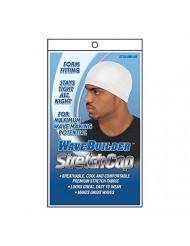 WaveBuilder Stretch Cap | Breathable Cool and Comfortable Fabric for Smooth Hair Waves, White