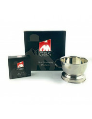 GBS Men's Durable Shave Soap Cup Stainless Steel Smooth Shaving Mug Bowl with Handle to Provide Grip While Creating Lather with Any Shave Brush Shaving Soap or Shave Cream. Sturdy Base