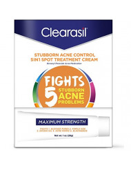 Clearasil Stubborn Acne Control 5 in 1 Spot Treatment Cream, 1 oz (Pack of 2)