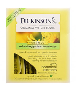 Dickinsons Original Witch Hazel Oil Controlling Towelettes, 20 Count, Pack of 3