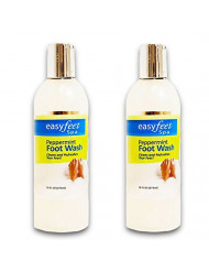 Easy Feet Spa Peppermint Foot Wash 16 Oz. Bottle (2 Pack Bundle)