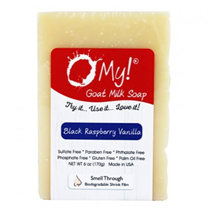 O My! Goat Milk Soap :: All Natural Hand, Face & Body Soap, 6 Oz. Bar :: Handmade in USA with Farm Fresh Goat's Milk :: Lightly Scented, Non Drying, Cruelty Free, Black Raspberry Vanilla