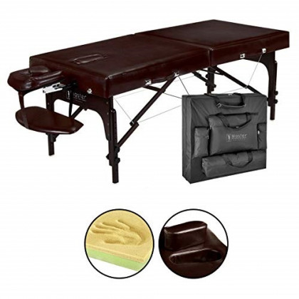 "Master Massage 31"" Supreme Lx Portable Massage Table Package-brown Luster, Memory Foam"