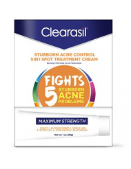 Clearasil Stubborn Acne Control 5 in 1 Spot Treatment Cream, 1 oz (Pack of 6)
