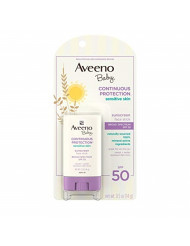 Aveeno Baby Continuous Protection Sensitive Skin Mineral Sunscreen Stick for Face with Broad Spectrum SPF 50, Zinc Oxide & Titanium Dioxide, Oil-Free & Water-Resistant, Travel-Size, 0.5 oz (Pack of 3)