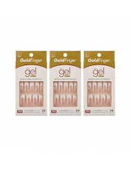 Gold Finger Posh Queen Glue-on Fashion Nails 24 ea ( Pack of 3)