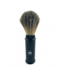 "GBS 100% Genuine Badger Hair Travel Shaving Brush 5.5"" Tall w/Black Metal Canister Compliments Any Shave Soap for Ultimate Wet Shaving Experience. for on The-go Fathers Businessman boss Great Gift"