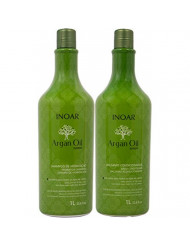 INOAR PROFESSIONAL - Argan Oil Shampoo & Conditioner - The Perfect Combination to Nourish and Repair Damaged, Dry and Stressed Hair Types (33.8 Ounces / 1000 Milliliters)