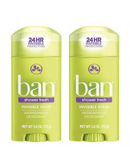 Ban Deodorant 2.6 Ounce Invisible Solid Shower Fresh (76ml) (2 Pack)