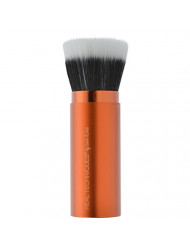 Real Techniques Cruelty Free Retractable Bronzer Brush, with Ultra Plush Custom Cut Synthetic Bristles and Extended Aluminum Ferrules to Build Coverage, Uniquely Shaped & Color Coded