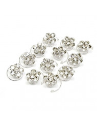 New Bridal Crystal Rhinestones Flower Hair Twists Pin Wedding Prom Hair Spin Accessories Pack of 12 - Silver