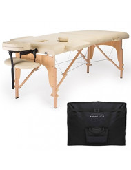 Saloniture Professional Portable Folding Massage Table with Carrying Case - Cream