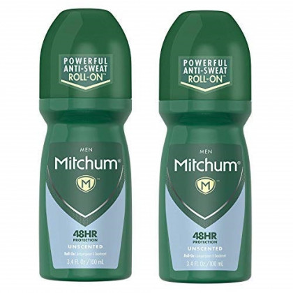 Mitchum Roll-On Anti-Perspirant and Deodorant for Men | Powerful Anti-Sweat | Unscented 3.4 Oz (Pack of 2)