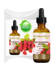 "RED RASPBERRY SEED OIL. 100% Pure / Natural / Undiluted / Refined Cold Pressed Carrier Oil. 2 Fl.oz.-60 ml. For Skin, Hair, Lip and Nail Care. ""One of the highest anti-oxidant, rich in vitamin A and E, Omega 3, 6 and 9 Essential Fatty Acids""."