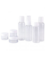 Set of 7 - Clear Plastic Travel Size Empty Bottles, TSA/Airline Approved