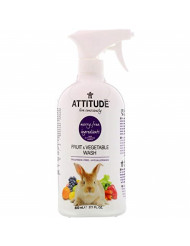 ATTITUDE Hypoallergenic Fruit and Vegetable Wash, Fragrance Free, 27.1 Fluid Ounce