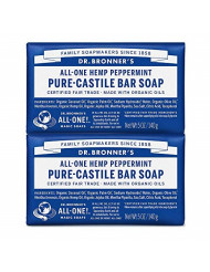 Dr. Bronner's - Pure-Castile Bar Soap (Peppermint, 5 ounce, 2-Pack) - Made with Organic Oils, For Face, Body and Hair, Gentle and Moisturizing, Biodegradable, Vegan, Cruelty-free, Non-GMO