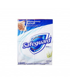 Safeguard Antibacterial Soap, White with Aloe, 4 oz bars, 8 ea (Pack of 2)