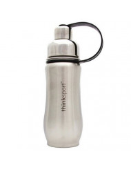 Stainless Steel Sports Bottle, Silver 12 Oz by ThinkSport (Pack of 3)