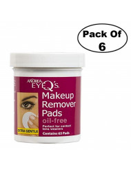 Andrea Eye Q's Oil-free Eye Makeup Remover Pads, 65 Count (Pack of 6)