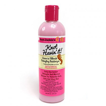 Aunt Jackie's Girls Knot Havin' It, Leave-in Ultimate Hair Detangler, For Daily Use for Naturally Curly  Hair, 12 Ounce Bottle, Package may vary