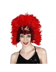 Red Carnival Costume Feather Headdress - Halloween Cosplay Party Hair Accessories