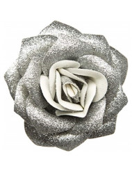 Silver Glitter Rose Hair Clip from Sourpuss Clothing