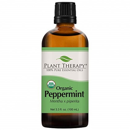 Plant Therapy Peppermint Organic Essential Oil 100% Pure, USDA Certified Organic, Undiluted, Natural Aromatherapy, Therapeutic Grade 100 mL (3.3 oz)