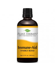 Plant Therapy Immune-Aid Synergy Essential Oil Blend. 100% Pure, Undiluted, Therapeutic Grade. Blend of: Frankincense, Tea Tree, Rosemary, Lemon, Eucalyptus and Orange. 100 ml (3.3 oz).