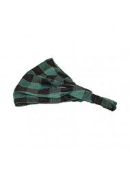 Green Plaid Soft Wide Holiday Headband Boho Head Wrap (Motique Accessories)