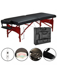 "Master Massage 30"" Roma Therma-Top Portable Massage Table Pro Package, Black, Adjustable Heating System"