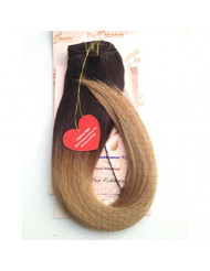 """Tressmatch 20""""(22"""") Thick to Ends Clip in Remy (Remi) Human Hair Extensions Ombre/dip Dye Brunette/dark Brown to Caramel Honey Blonde 9 Pieces(pcs) Full Head Set [Set Weight:4.3oz/122grams]"""