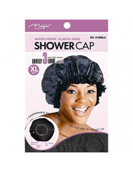 """X-Large BLACK 21"""" Extra Large Water-Proof SHOWER CAP with Comfortable Elastic Band Black - 2 pieces"""