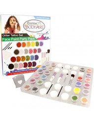 "Glitter Tattoo Set by Custom Body Art 24 Color""Ultimate"" Glitter & Face Painting Set. 12 Large Glitter Colors, 30 Themed Temporary Tattoo Stencils, 2 Glue Applicator Bottles & 2 Glitter Brushes"
