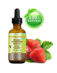"""STRAWBERRY SEED OIL ORGANIC. 100% Pure Moisturizer/ Natural Cold Pressed Carrier oil. 2 Fl.oz.- 60 ml. For Skin, Hair, Lip and Nail Care. """"One of the highest anti-oxidant oil, rich in Omega-3 and Linolenic Acid."""" Botanical Beauty."""