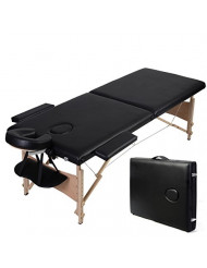 "84""l Folded Portable Massage Table Facial SPA Bed Tattoo W/free Carry Case Black"