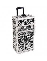 SUNRISE Rolling Makeup Case 2 in 1 Professional Organizer I3462 6 Trays and 4 Drawers, Adjustable Dividers, White Zebra