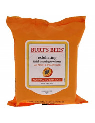 Burt's Bees Facial Cleansing Towelettes, Peach & Willow Bark Exfoliating, 25 Count