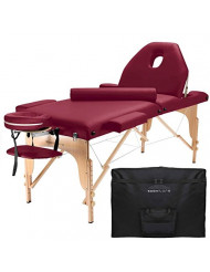 Saloniture Professional Portable Massage Table with Backrest - Burgundy