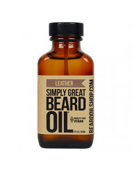 Simply Great Beard Oil - LEATHER Scented Beard Oil - Beard Conditioner 3 Oz Easy Applicator - Natural - Vegan and Cruelty Free Care for Beards - America's Favorite